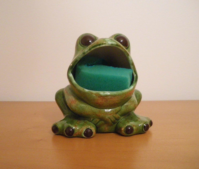 Vintage, Ceramic, Frog, Kitchen Dish Scrub Holder