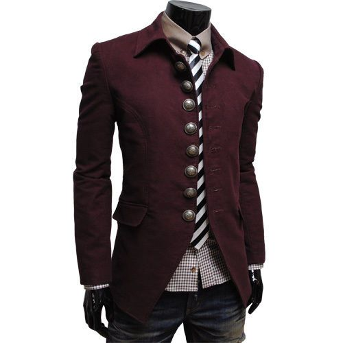 THELEES Mens Casual Slim fit Long Sleeve Unique Jacket Coat Blazer ...