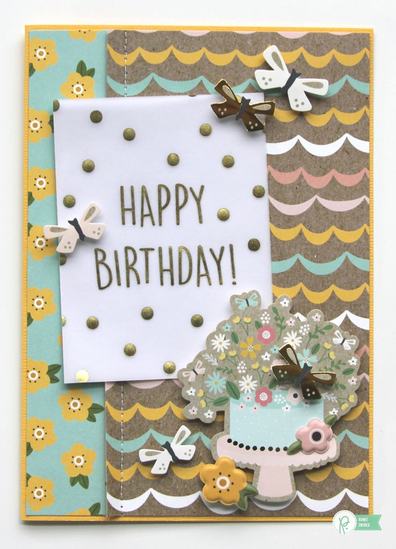 Happy Birthday! card by @reneezwirek using the #SpringFling collection by @pebblesinc #sponsored