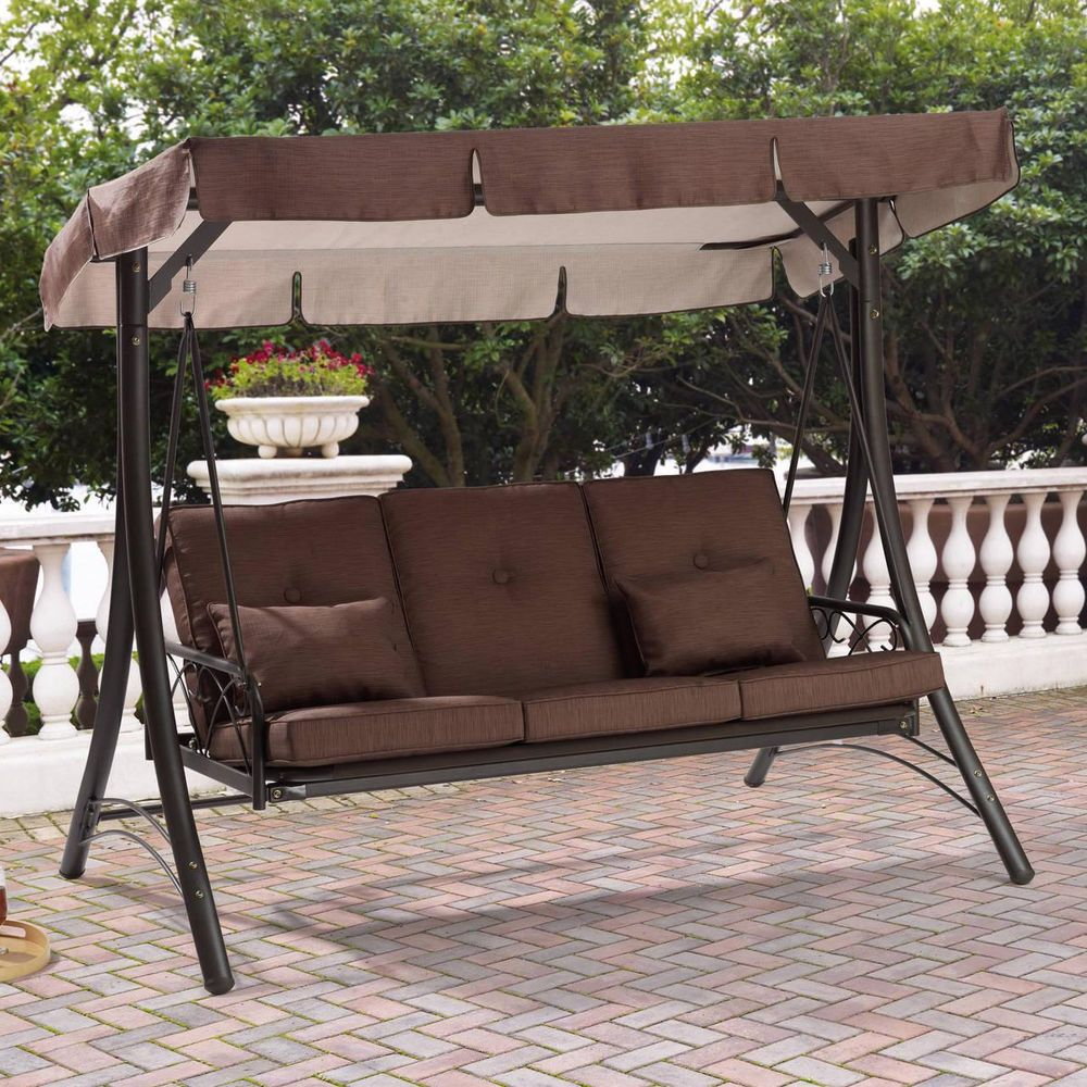 Outdoor Porch Swing With Canopy Steel Patio Hammock 3 Seat Furniture Convert Bed