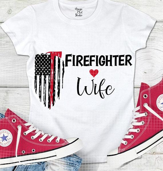 00013d5d Firefighter Wife Svg, Fireman Distressed Flag Svg, Fire Dept Red Line Svg,  Firefighter Cut Files, Fireman shirt, Hero svg, Cameo Cut File