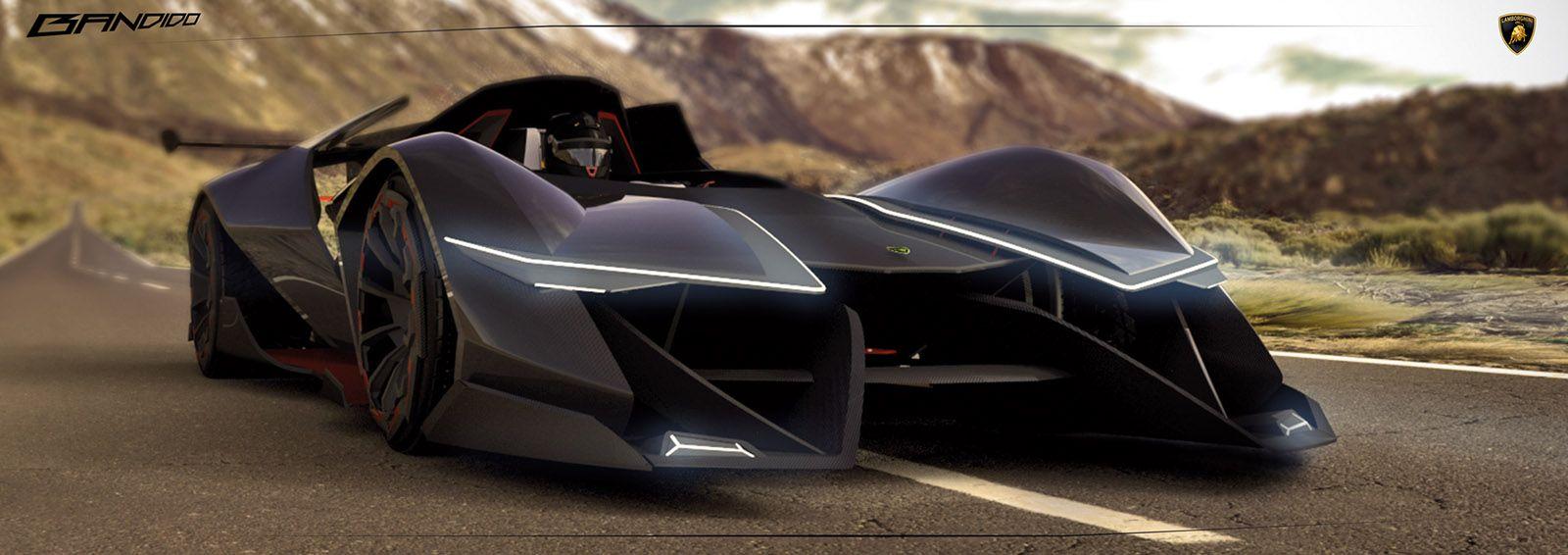 the 2030 lamborghini bandido concept envisions the electric powered single seater supercar of the future