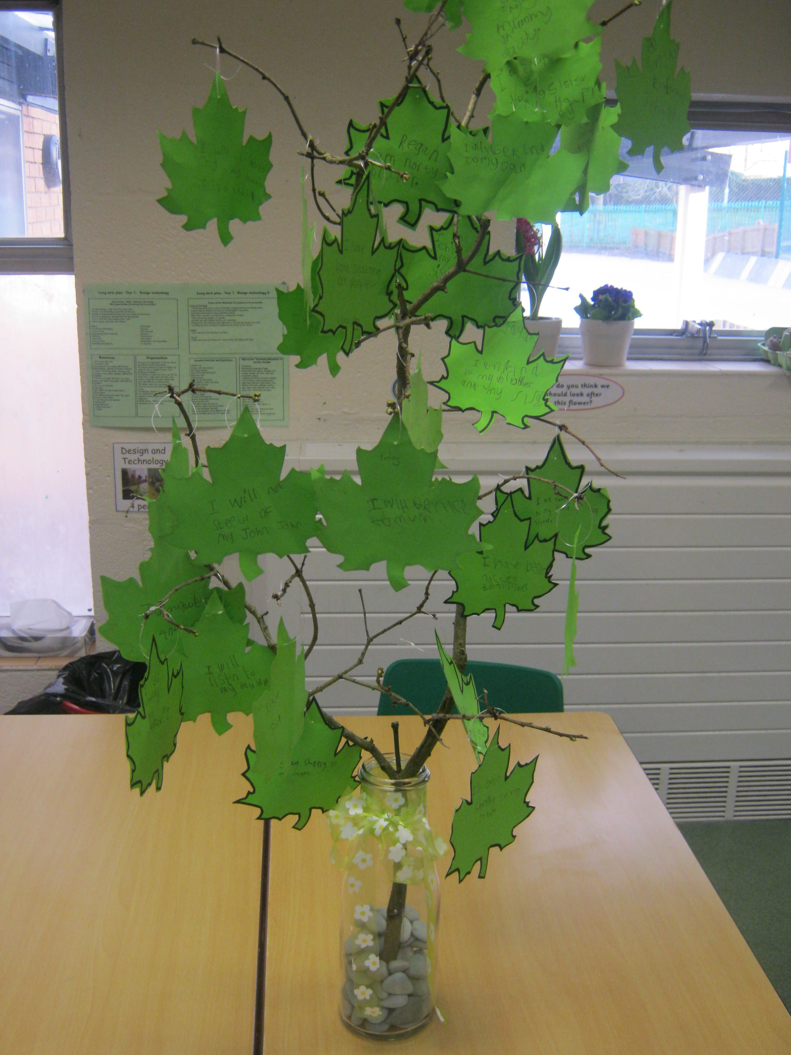 Lent Promise Tree Children Write What They Are Not Good At One Side Of The Leaf Then Turn Over