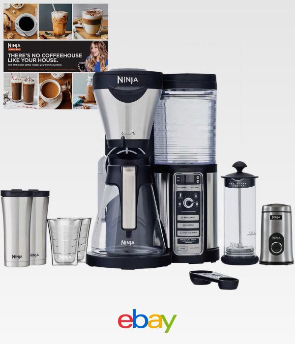 Ninja Coffee Bar Carafe Frother Grinder Cups Mugs