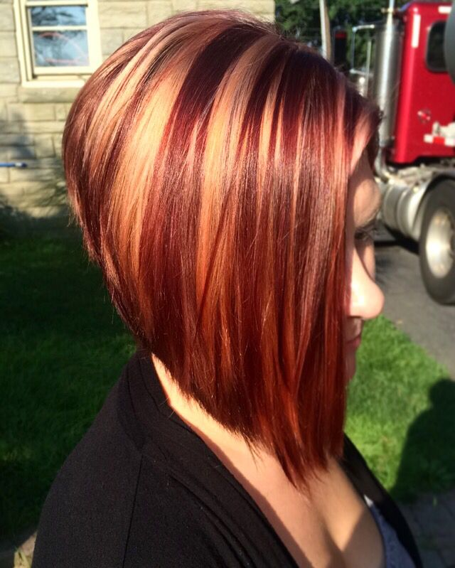 Inverted Bob Red And Blonde Short Red Hair Red Blonde Hair Red Hair With Blonde Highlights