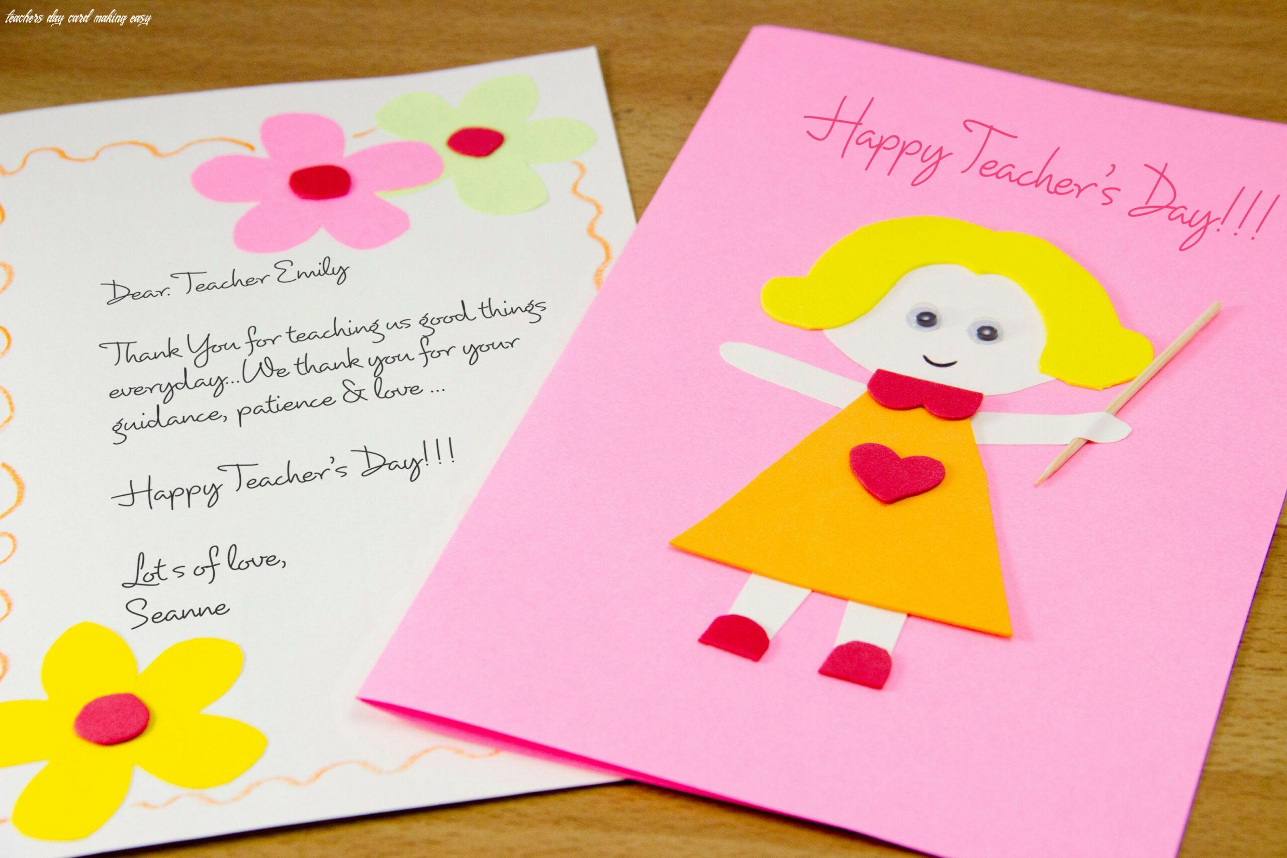 6 Teachers Day Card Making Easy In 2020 Teachers Day Card Teacher Birthday Card Simple Birthday Cards