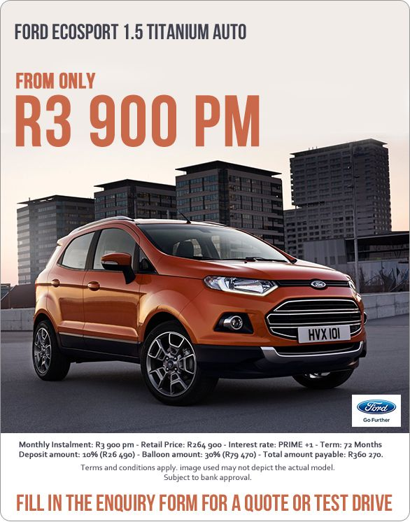 Now From Only R3 900 Ford Ecosport 1 5 Titanium Auto Retail
