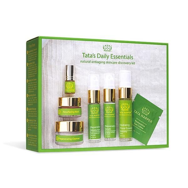 This set contains Tata's daily skincare essentials, a complete regimen that provides every step you need for beautiful, glowing skin.