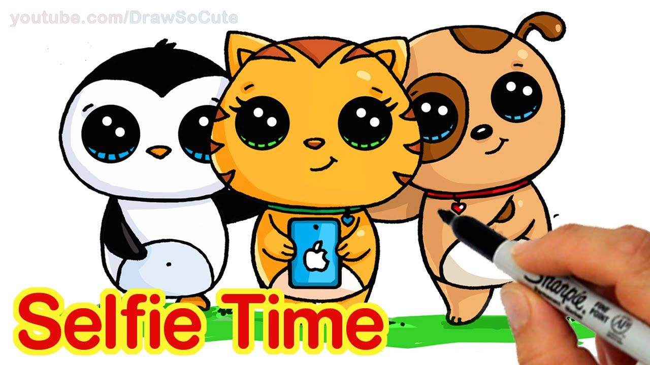 Selfie Time! EASY How to Draw Penguin, Cat and Dog