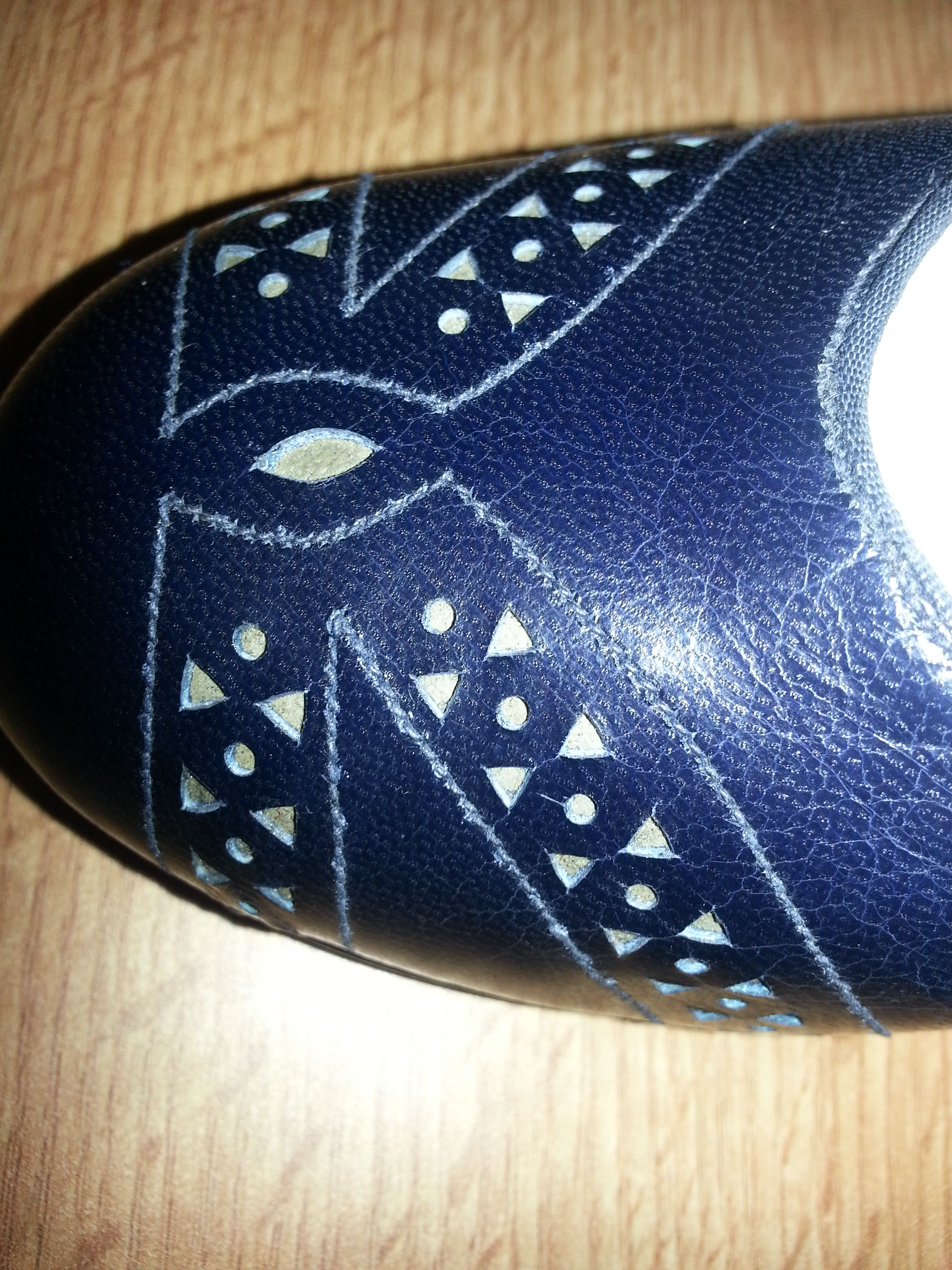 Womens Navy Blue leather court shoes punching on vamp by G.T White 1941