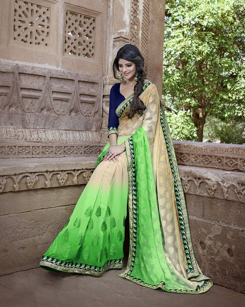 Lovely Green Cream Georgette Designer Saree