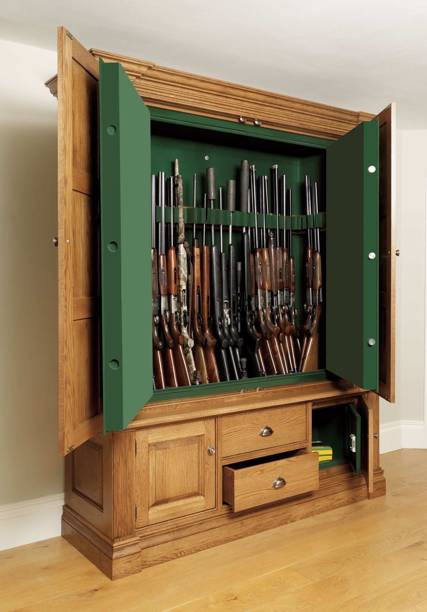 Gun Safe In Wooden Cabinet
