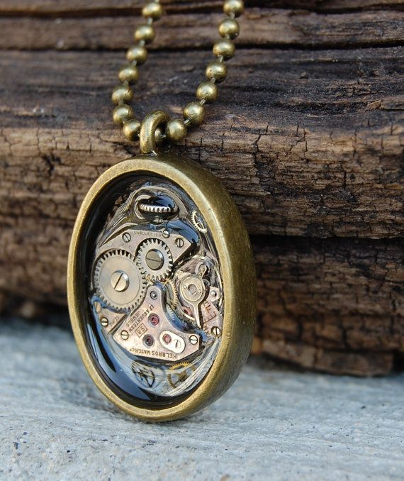 Steampunk necklace watch movement pendant by BluePendulum on Etsy