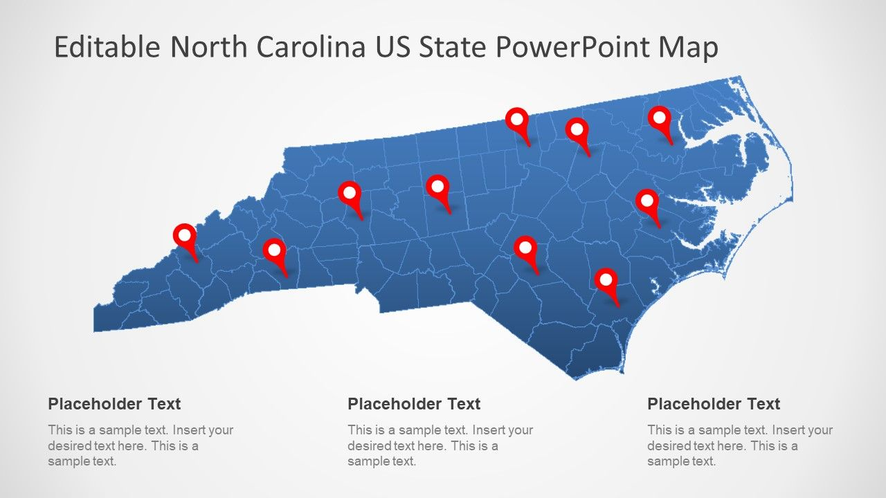North Carolina US State PowerPoint Map | PowerPoint Maps ...