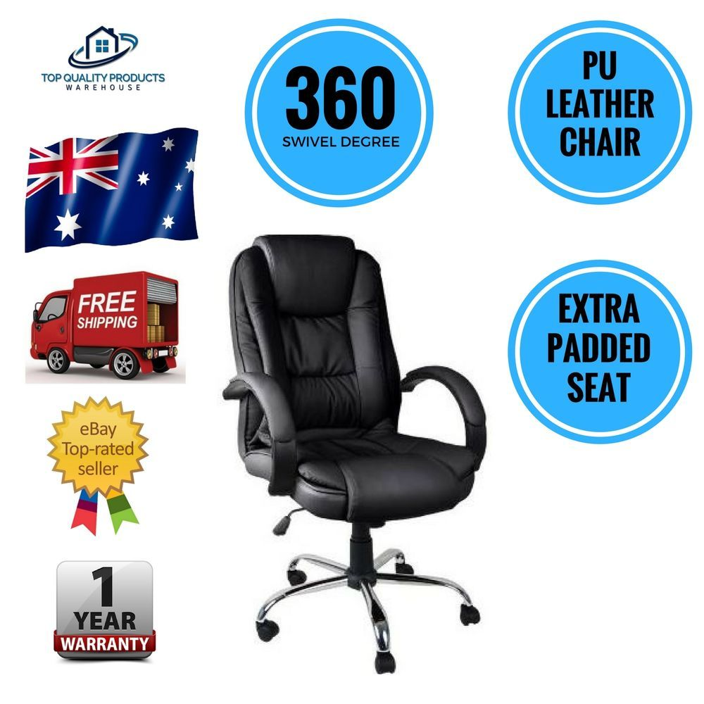 Executive PU Leather Office Computer Desk Chair Black Tilt 360 Degree Swivel New