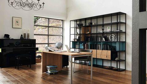 now! Vision by hulsta desk in natural oak, black shelf with blue
