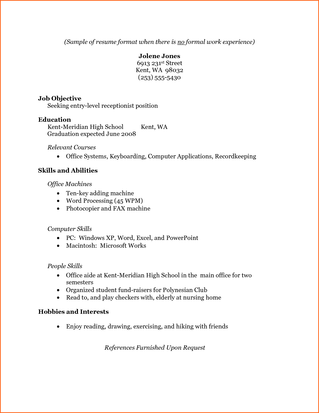 8 Sample College Student Resume No Work Experience Budget Template Letter