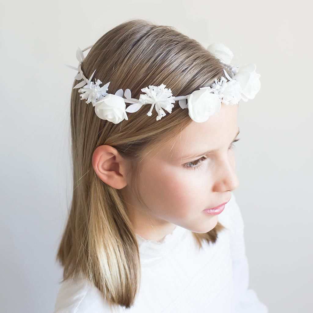 Elegante peinados niño comunion Galería de cortes de pelo estilo - Corona flores blancas para Comunión. Coronas para niñas ...