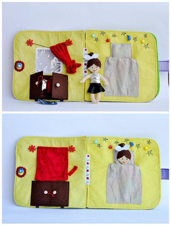 Quiet Book Doll House DollHouse Handmade Free by weriweri on Etsy