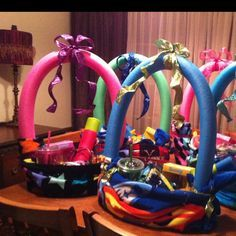 Make a fun easter basket using a beach towel and pool noodle easter baskets using a beach towel as the basket and a swim noodle for the handle negle Choice Image