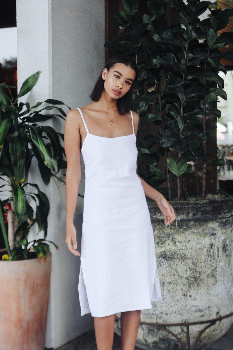 Valaree Midi Slip Dress White White Slip Dress Linen Slip Dress Slip Dress