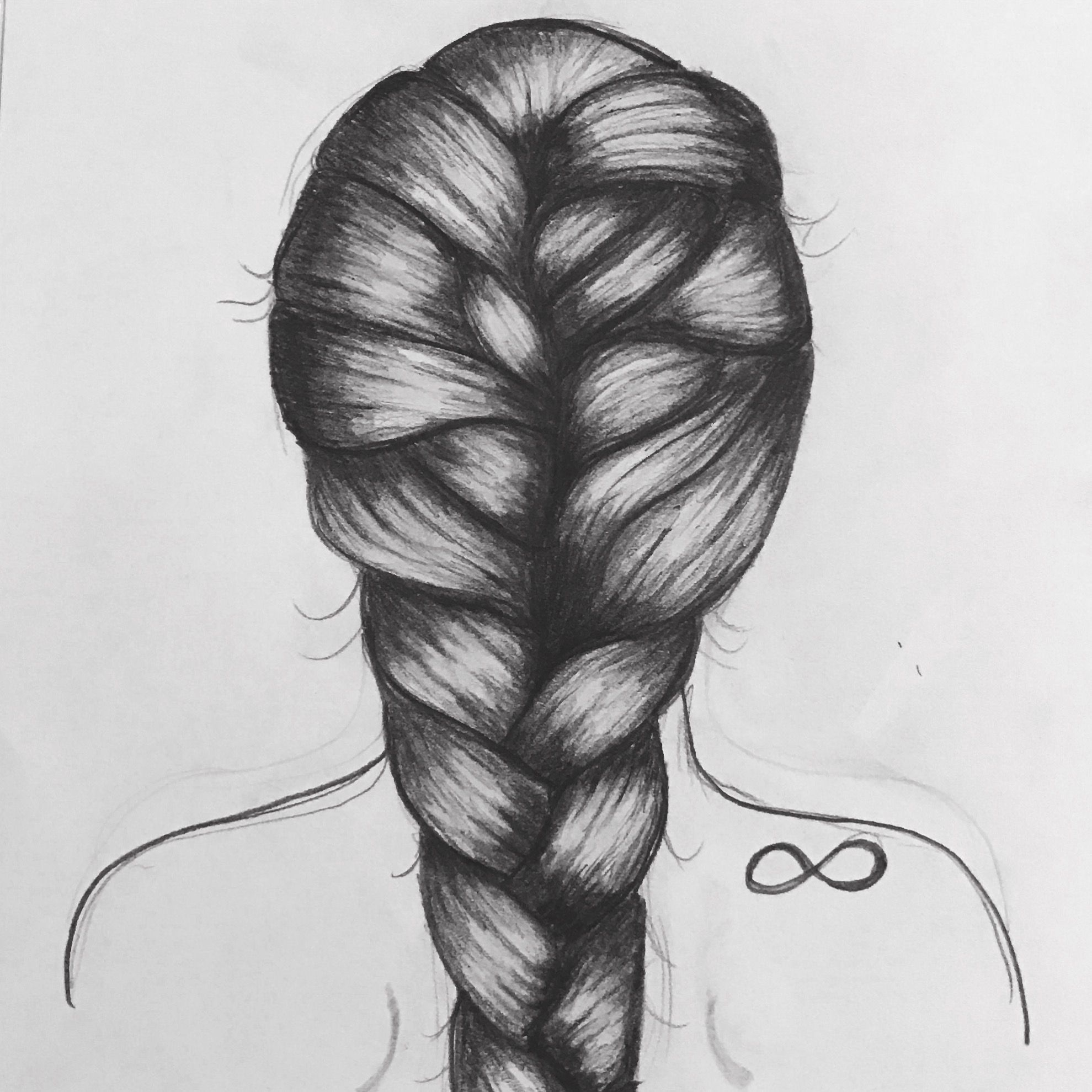 One of my favorites #braid #art #girl #infinity #drawing #sketch #hair #hairart #back | Girl ...