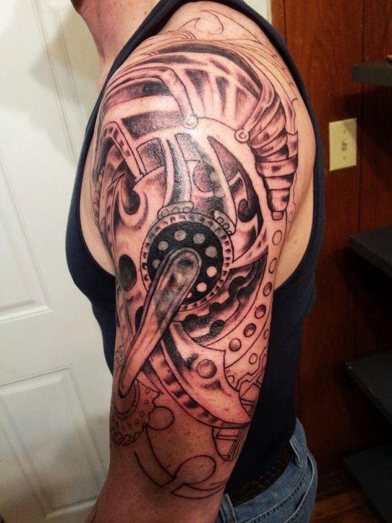 Large Grey Biomechanical Gears Tattoo On Left Half Sleeve ...