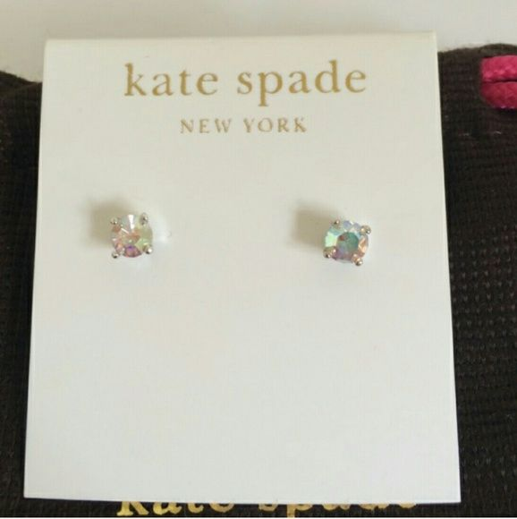 Kate Spade Earrings Brand new!  Includes Kate Spade dust bag. These are gorgeous and even more beautiful in person!  It has an iridescent stone and silver metal. The stone's iridescence is absolutely beautiful and catches the light so well.  These earrings are sure to make someone's holiday, either your own or someone special! Kate Spade Jewelry Earrings