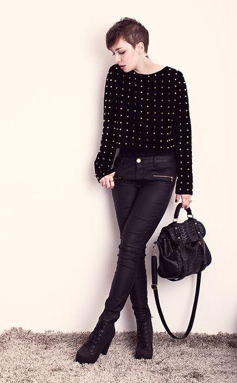Charlotte Rouge Black Studded Sweater, Zara Pants, Stylowe Buty Heels, Romwe Bag