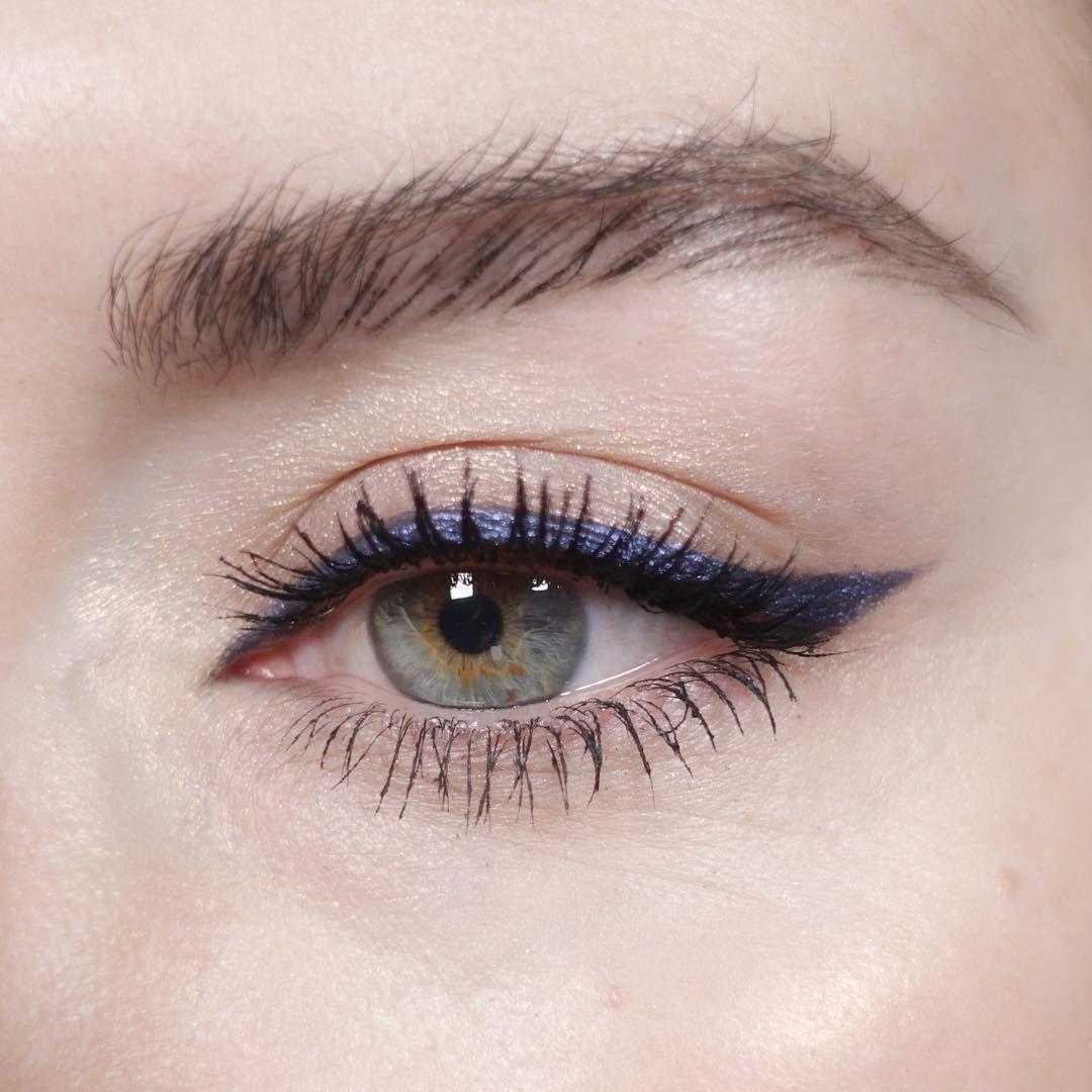 navy blue glitter liner, wash of shimmer on the lid (mac