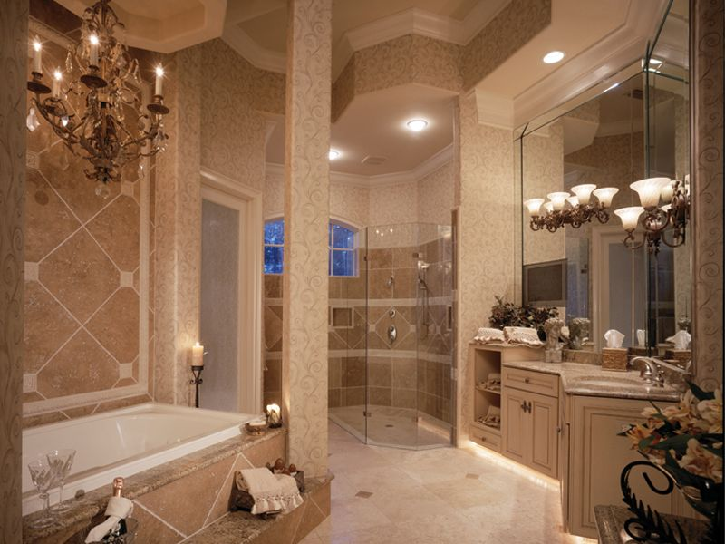 Luxury Master Bedrooms In Mansions | Traditional House Plan Master Bathroom  Photo 01   047D