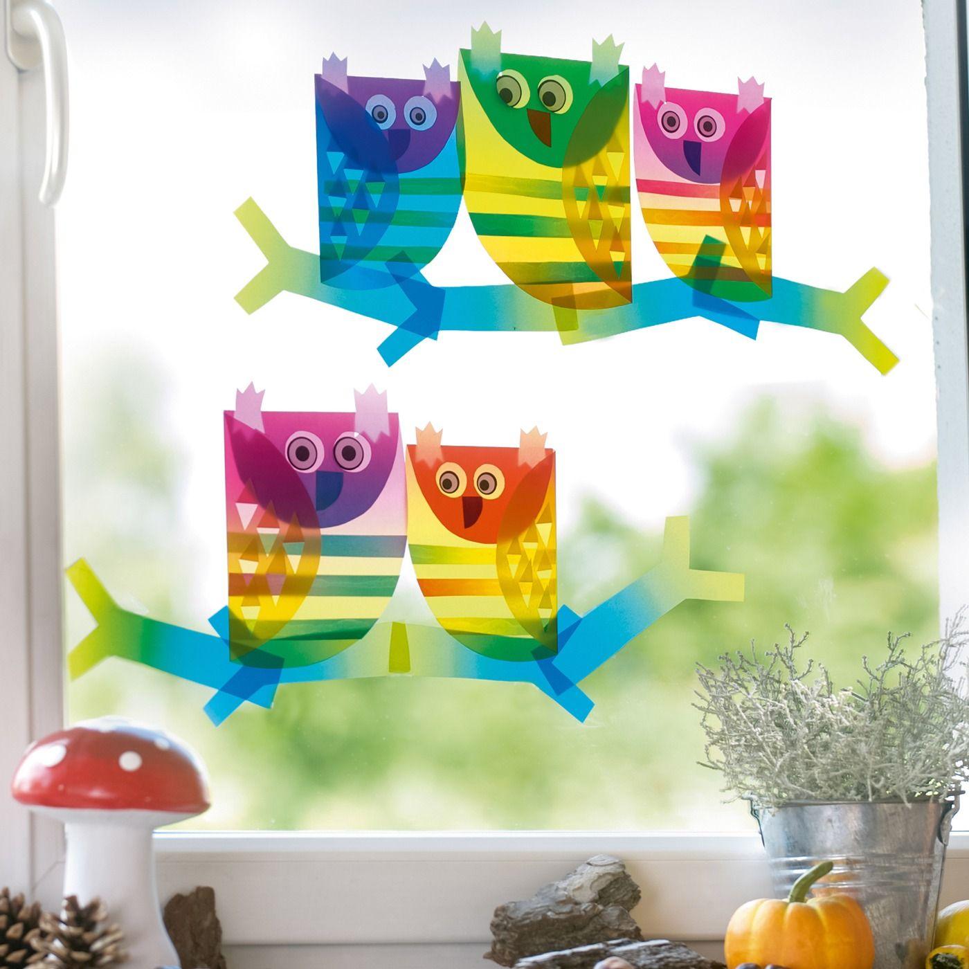 Fensterbilder Eulen Jako O Bastelset Fensterbilder Basteln Basteln Herbst Fensterbild Basteln