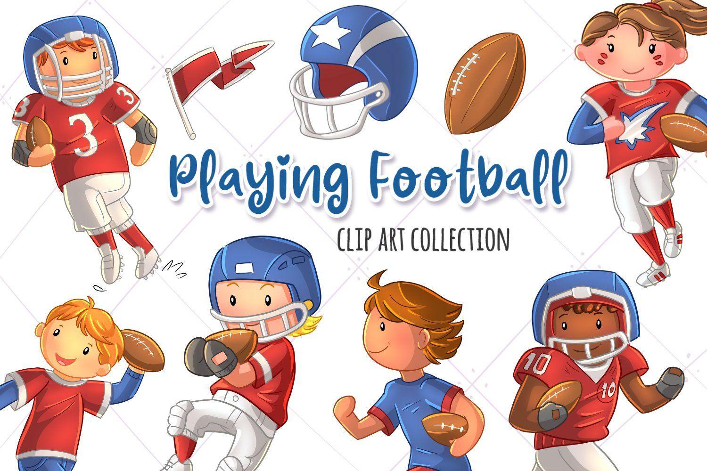 Kids Playing Football Sports Clip Art Collection Cute Etsy Kids Playing Football Football Clip Art Football Clips