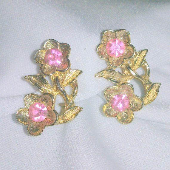 Vintage Pink Rhinestone Flower Earrings by BorrowedTimes on Etsy