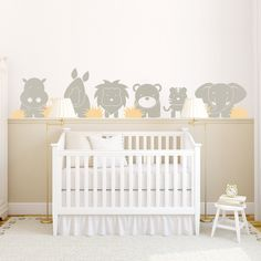 Baby Zoo Animals Wall Decal Safari Theme Wall Sticker Baby Wall Decals Baby Room Wall Decals Baby Room Wall