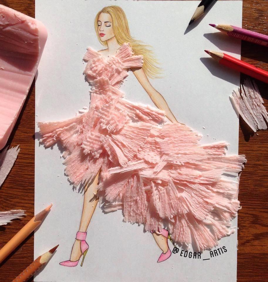 848949a26f6c Pink tissue dress. Edgar Artis