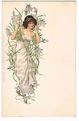 ART NOUVEAU GLAMOUR COLOUR POSTCARD ILLUSTRATED BY M.S.M., c1903