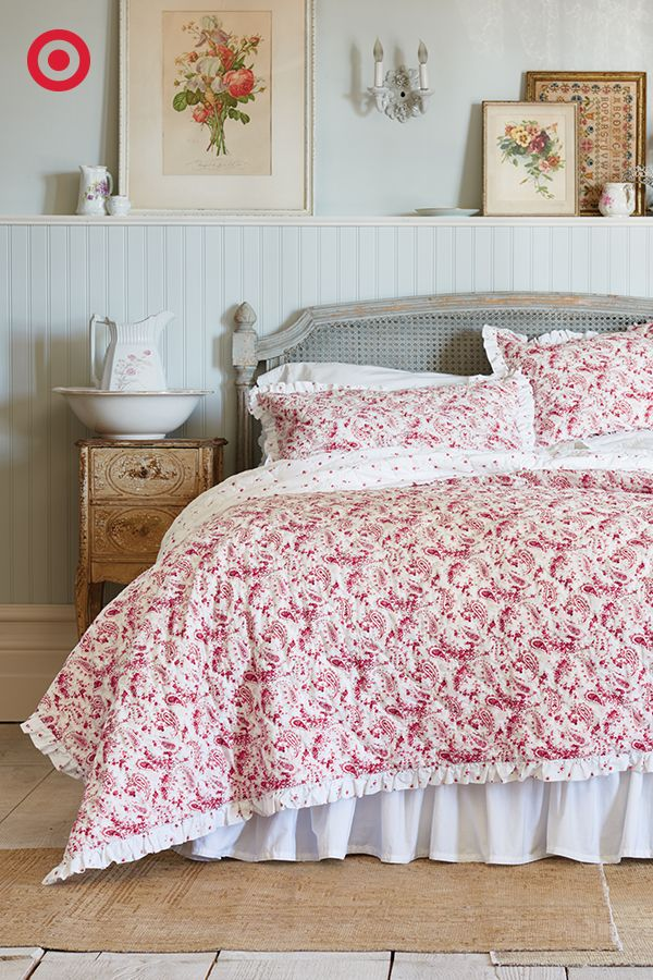 A paisleyandfloral print Simply Shabby Chic quilt is a