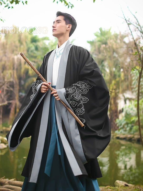 e7dc13987 Ancient china clothing Traditional chinese Men Hanfu Cloak in 2019 ...