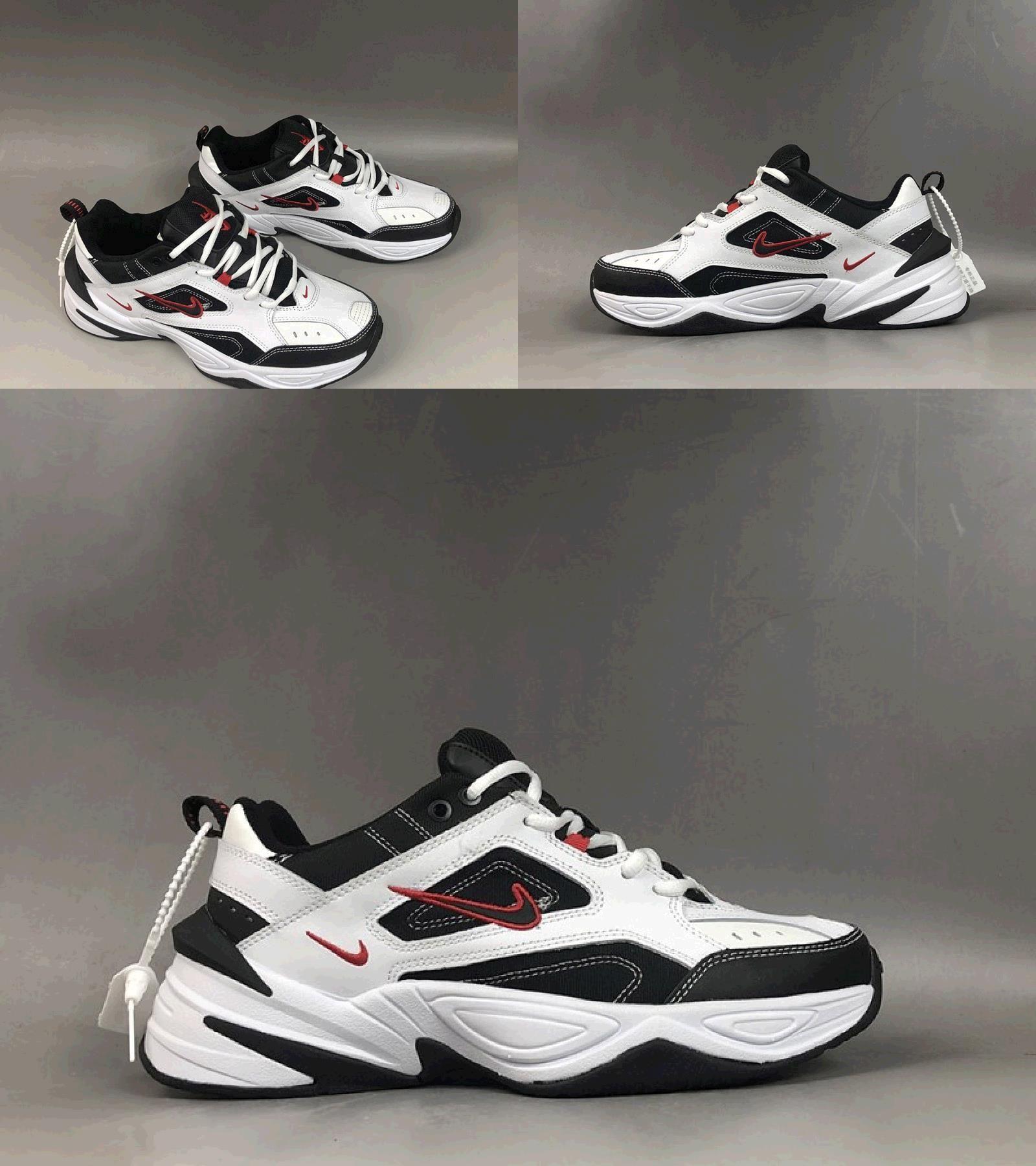 Nike M2k Tekno White Black University Red For Sale White And Black Sneakers Fashion Nike