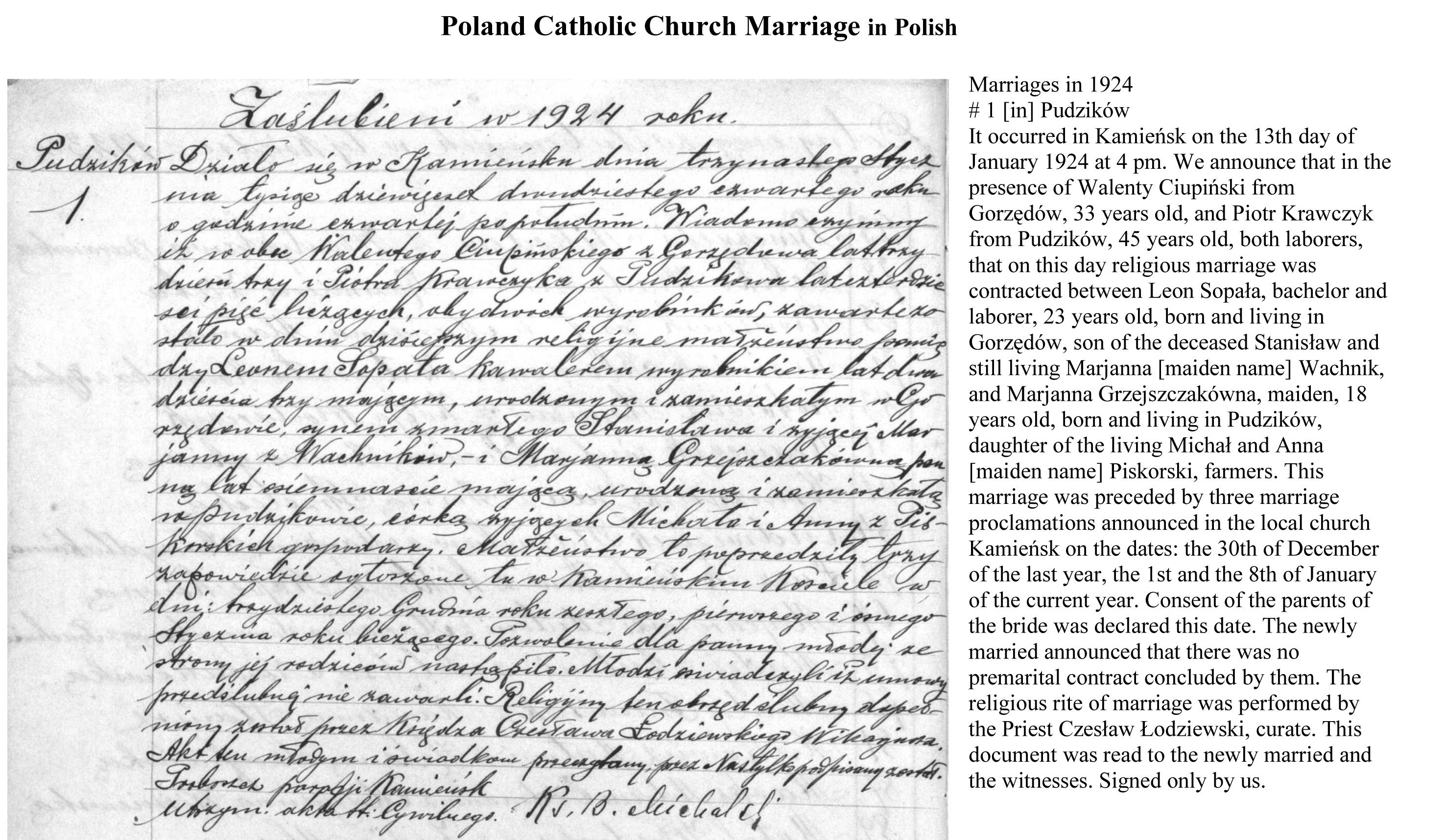 polish marriage records | Ancestry | Marriage records