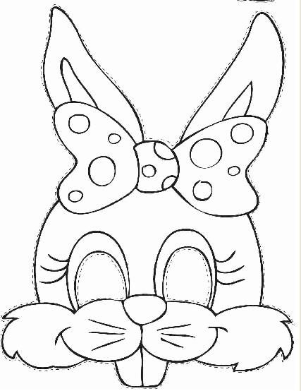easter bunny face printable ; easter-bunny-mask-template