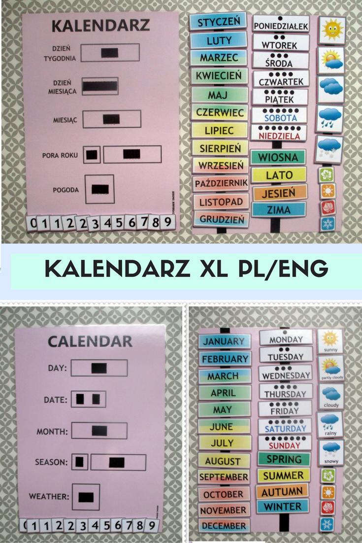 Kalendarz 2xa3 Na Rzepy Wersja Pl Przedszkole 7733489168 Oficjalne Archiwum Allegro Toddler Learning Activities Toddler Learning Learning Activities