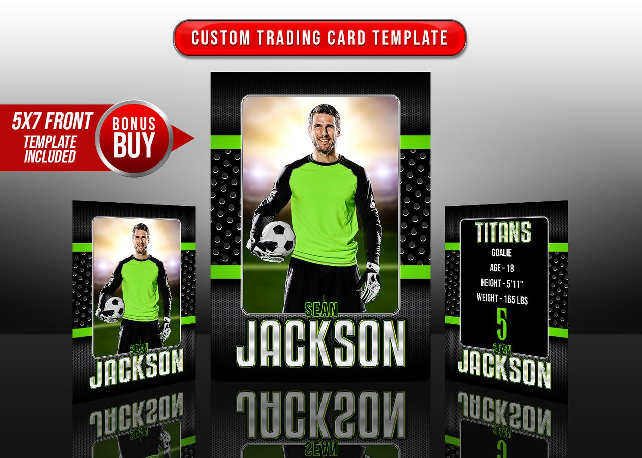 Custom Sports Trading Cards and 5x7 Template Bold