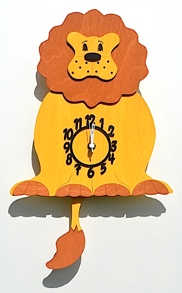 Handmade Wooden Lion Wall Clock Pendulum Clock Made In The Uk Saatler
