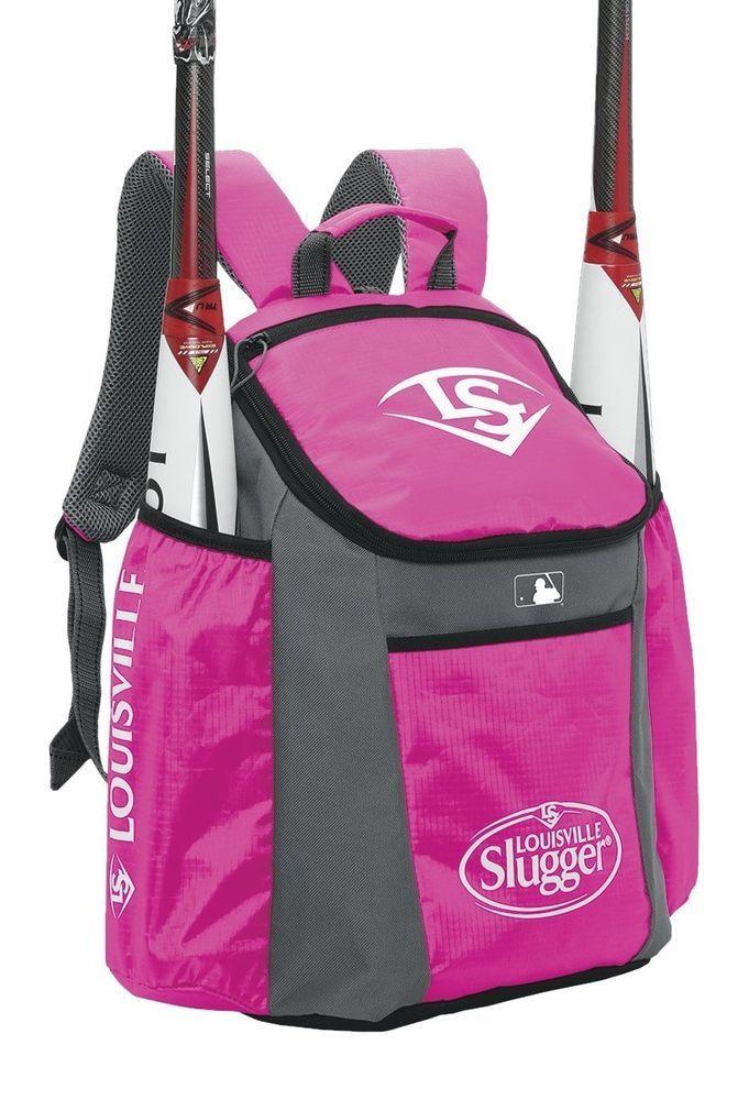 Hot Pink Louisville Slugger Backpack Equipment Bag 2 Bat Sleeves Youth Louisvilleslugger