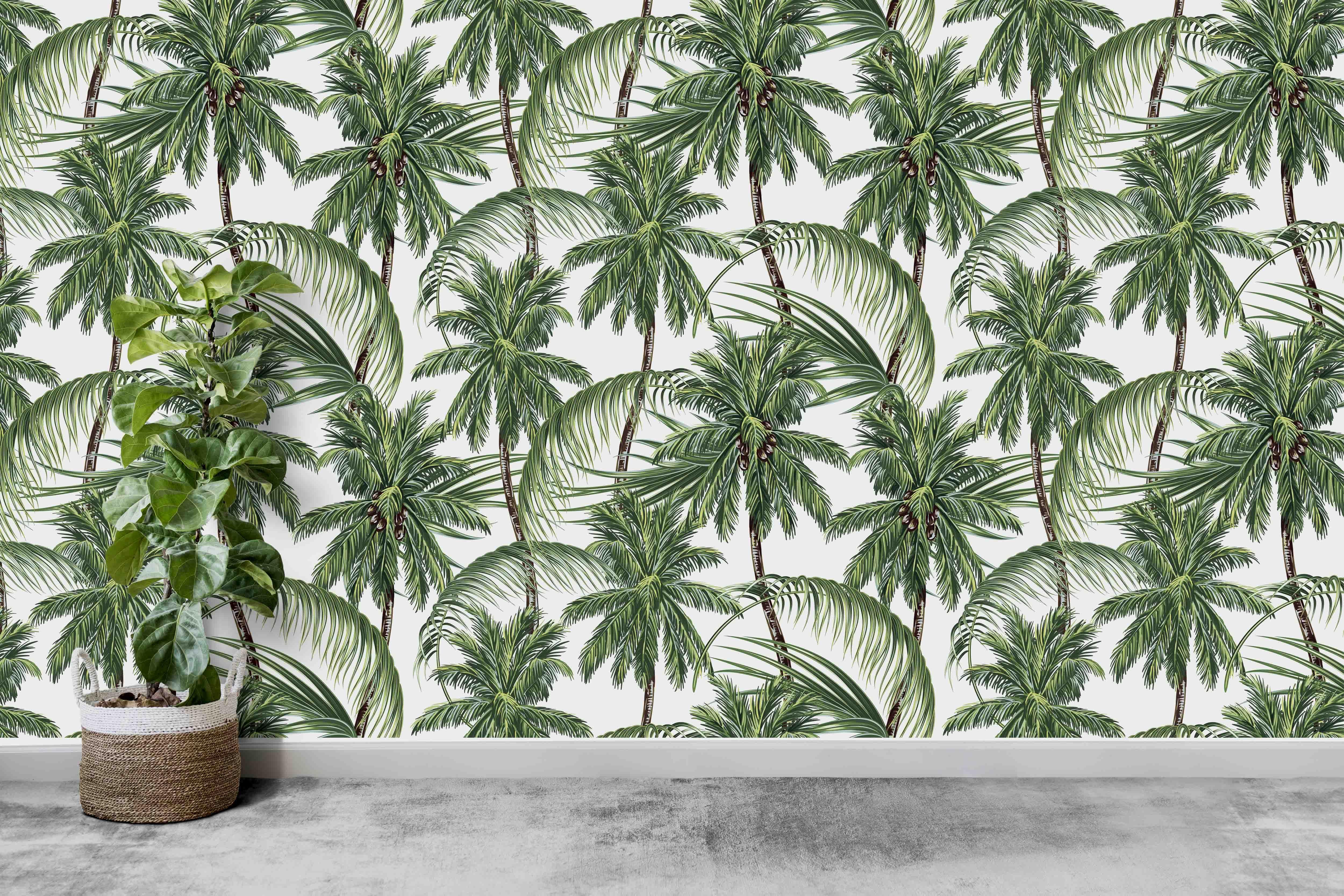 Tropical Paradise Wallpaper Palms Wallcovering Palm Print Wallpaper Tropical Modern Home Dec Palm Print Wallpaper Tropical Paradise Wallpaper Palm Wallpaper