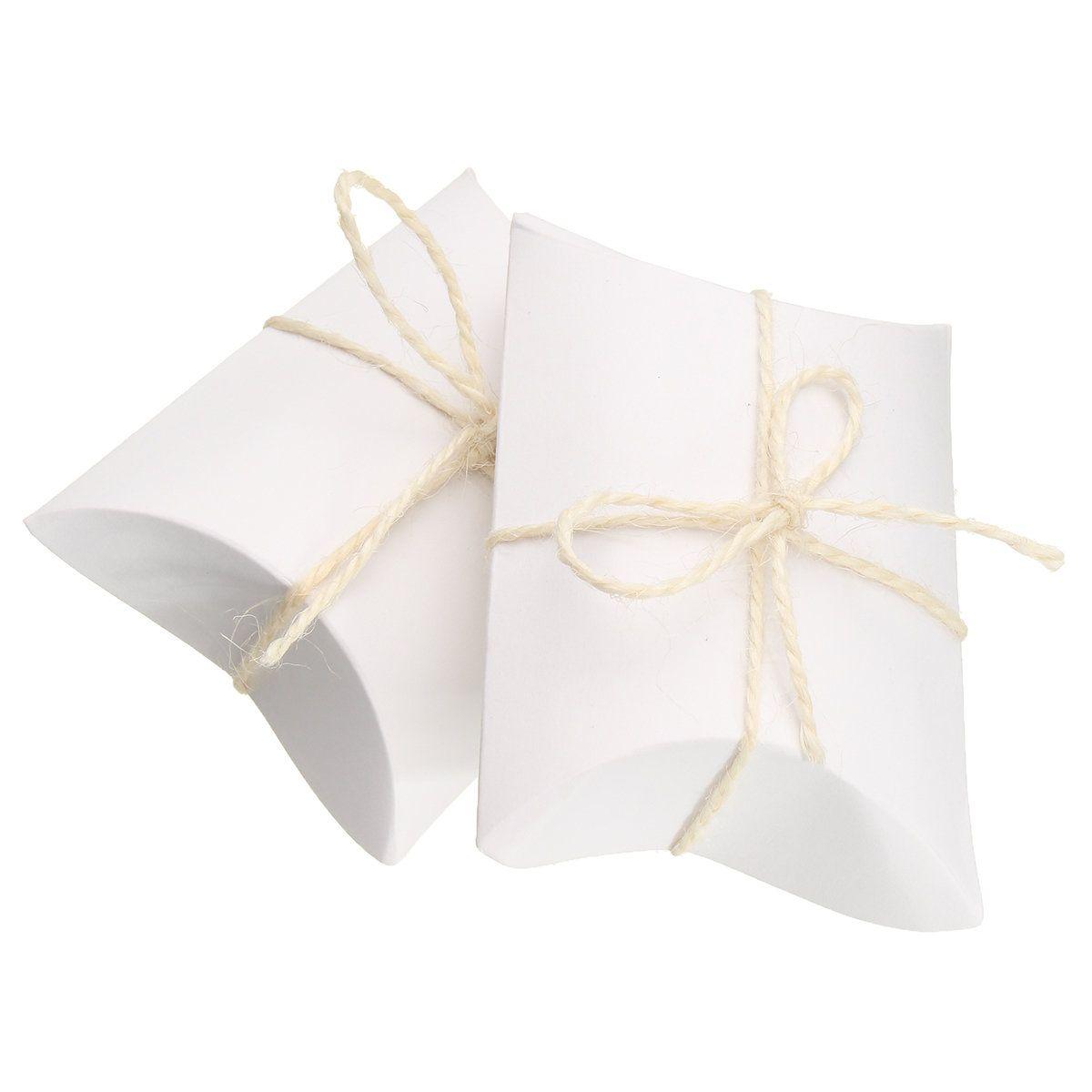 50Pcs White Pillow Favor Candy Boxes Kraft Paper Gift Box Wedding ...