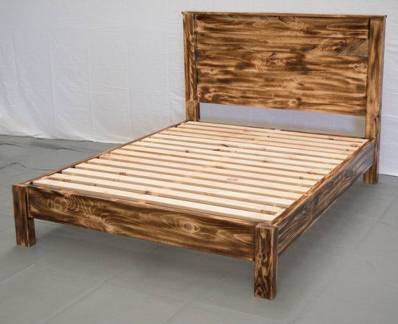 Torched Farmhouse Platform Bed W Headboard Traditional Platform