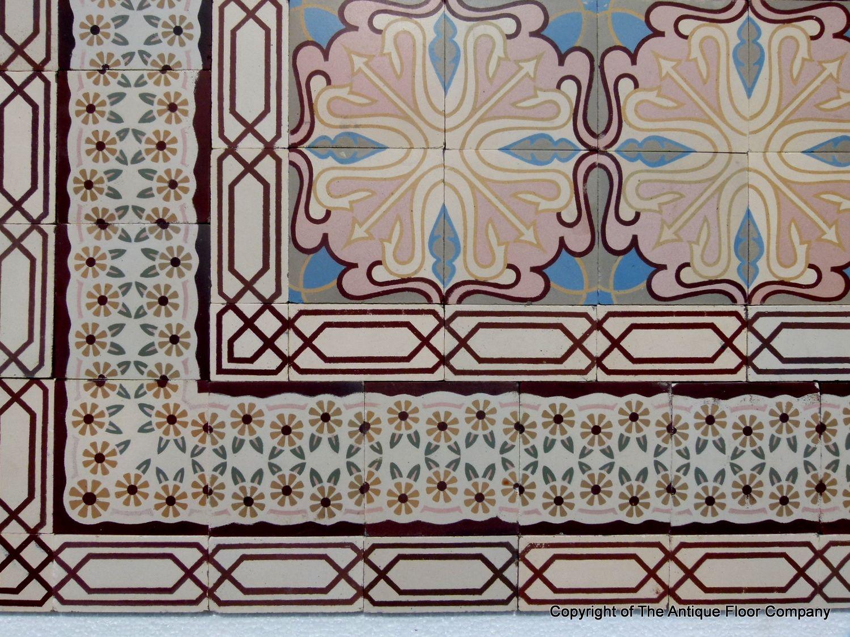 12m2 130 Sq Ft Antique Ceramic Art Nouveau Floor With Triple